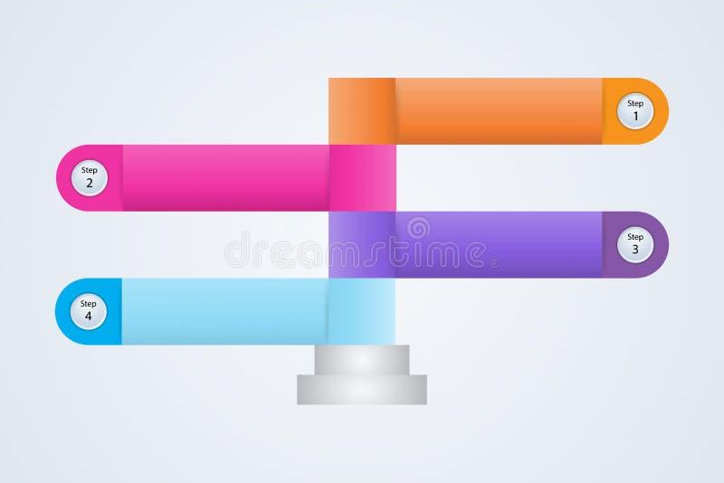 O elemento de informação da etapa de Infographics quatro do fluxograma conecta o mercado do diagrama do negócio dos dados no illu ilustração royalty free