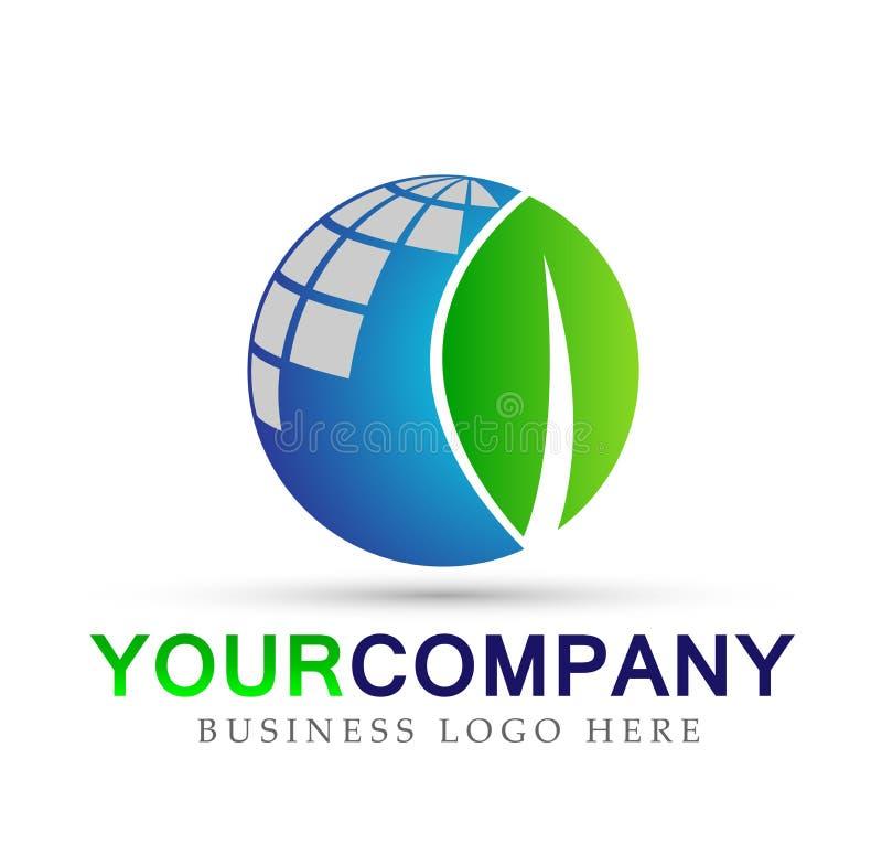 O elemento do ícone do logotipo do conceito da empresa da terra e da folha do globo assina no fundo branco ilustração royalty free