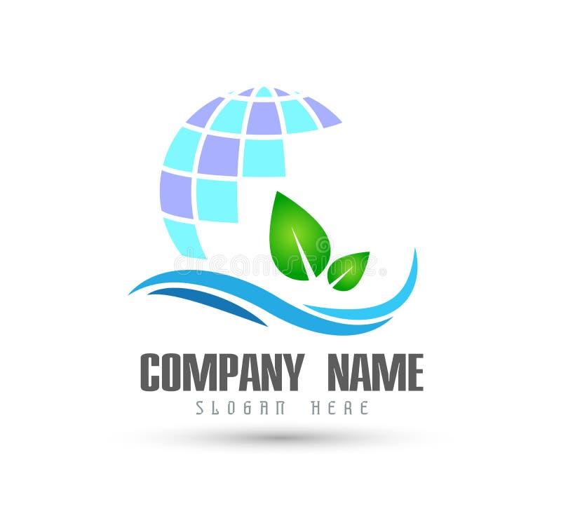 O elemento do ?cone do logotipo do conceito da empresa da terra e da folha do globo assina no fundo branco ilustração do vetor
