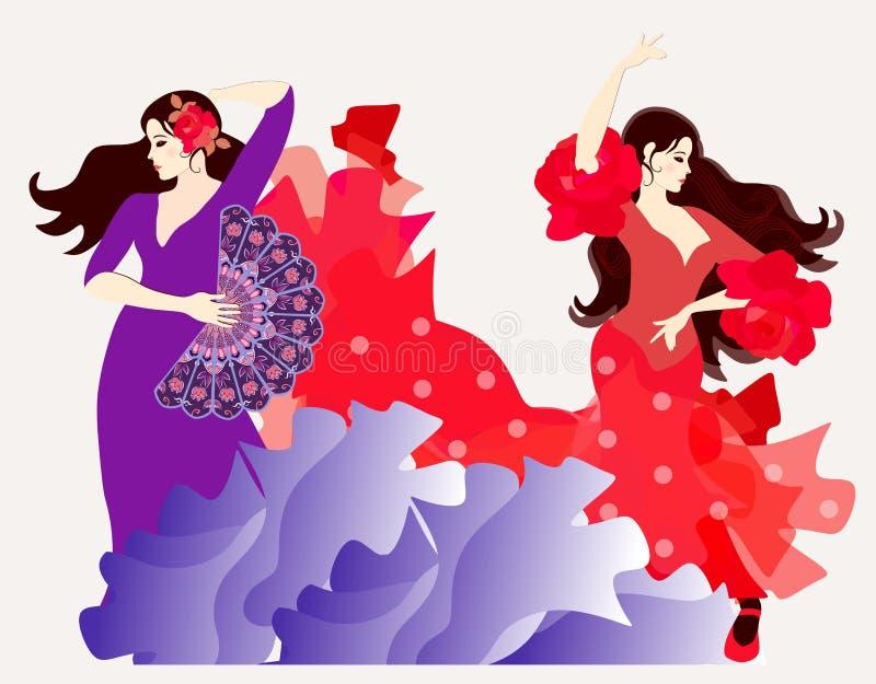 O elemento do fogo e o elemento da água Dois espanhóis ou meninas aciganadas vestidas nos vestidos longos que dançam o flamenco ilustração do vetor