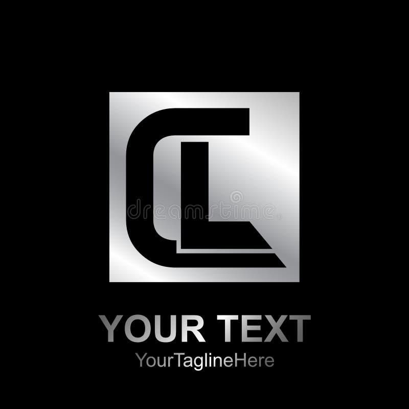 O elemento do molde do projeto do logotipo do CL da letra inicial coloriu o bl de prata ilustração stock