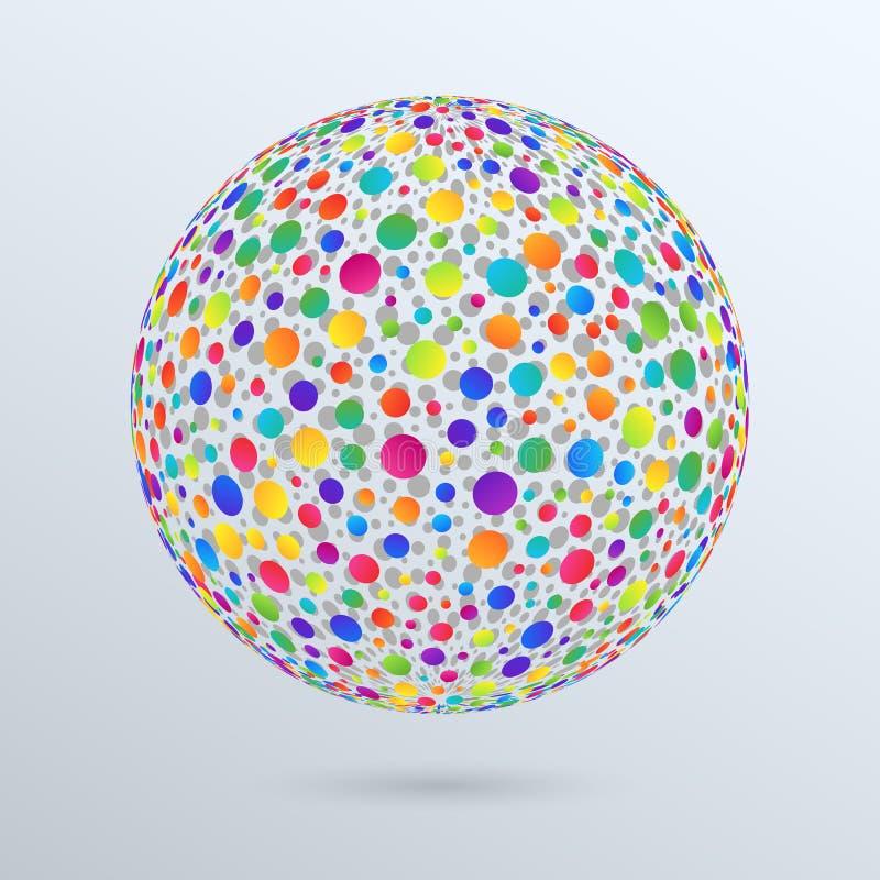 O elemento do projeto geométrico isolou a esfera 3d do inclinação colorido ilustração stock