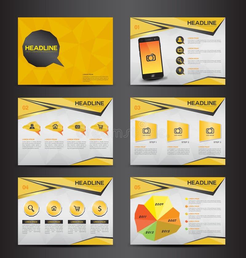 O elemento infographic da apresentação de múltiplos propósitos amarela e o projeto liso do molde do ícone do símbolo da ampola aj ilustração do vetor