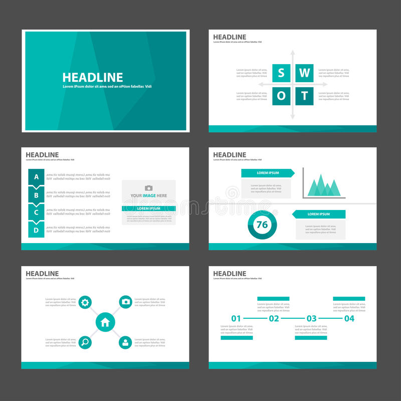 O elemento infographic do polígono azul verde e o projeto liso dos moldes da apresentação do ícone ajustaram-se para o Web site d ilustração royalty free