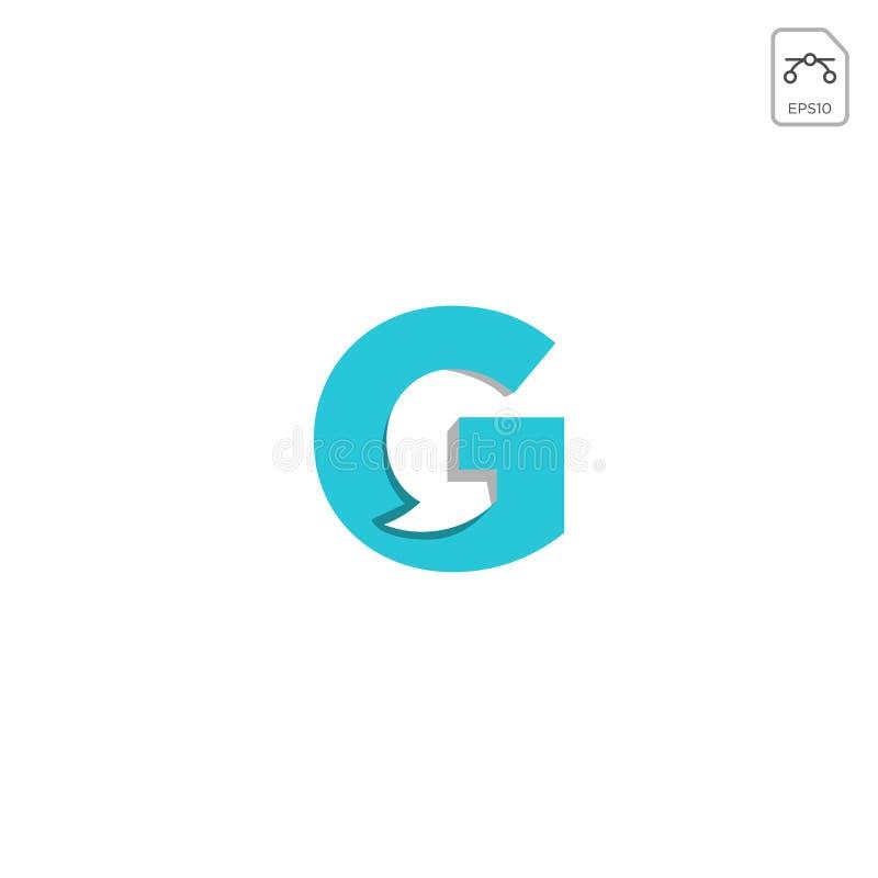 o elemento inicial do ícone do vetor do logotipo de g do bate-papo isolou-se ilustração stock