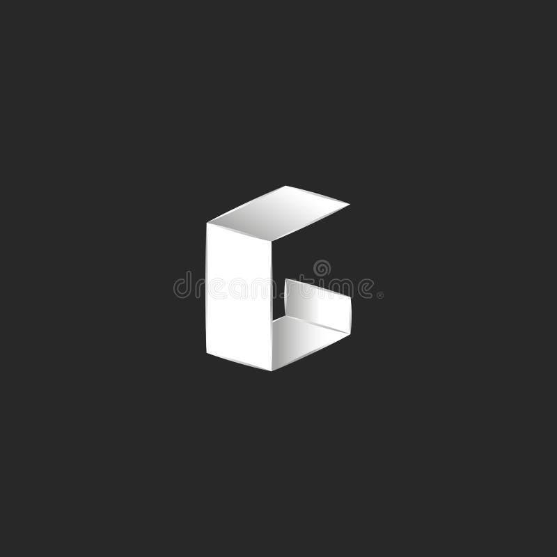 O elemento isométrico do projeto da tipografia da forma do logotipo de G da letra, dobrou o estilo minimalista do papel fino bran ilustração stock