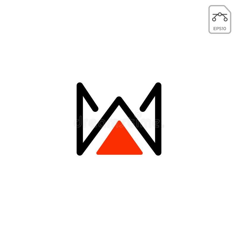 o elemento real do elemento do ícone do vetor da inicial do logotipo de w isolou-se ilustração stock