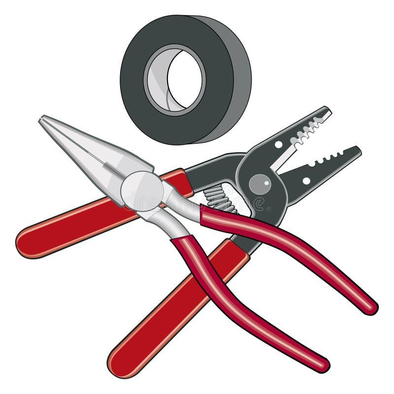 O eletricista utiliza ferramentas o logotipo ilustração do vetor