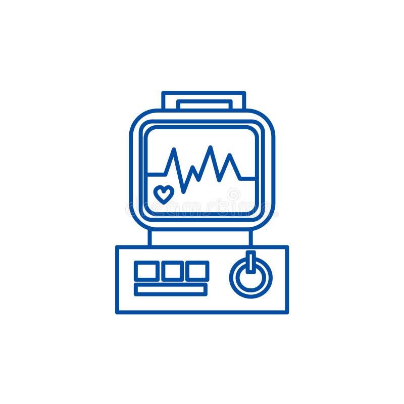 O eletrocardiograma, coração analisa a linha conceito do ícone Eletrocardiograma, coração para analisar o símbolo liso do vetor,  ilustração do vetor