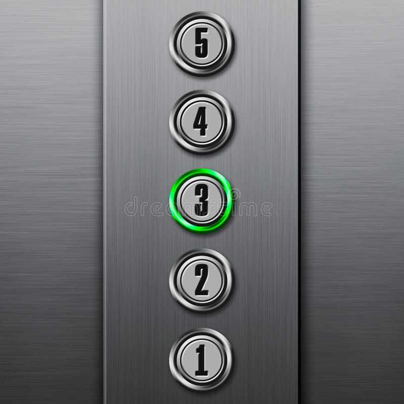 O elevador abotoa o painel ilustração stock