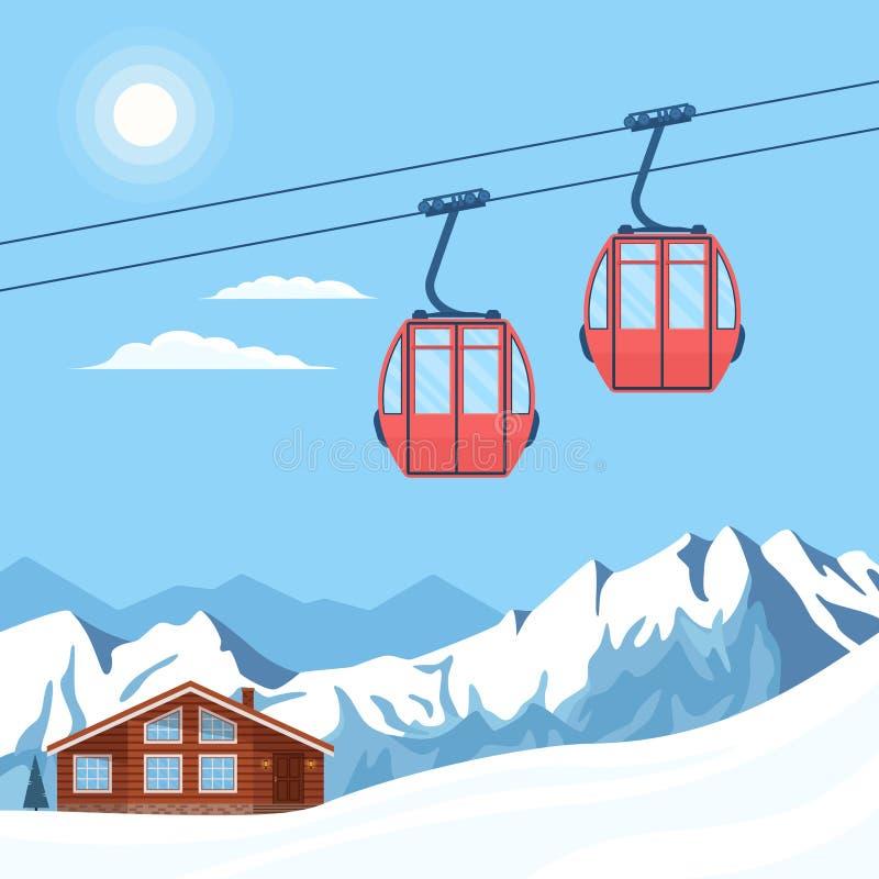 O elevador vermelho da gôndola do esqui move-se em um cabo aéreo no fundo de montanhas da neve do inverno, de montes, de chalé, d ilustração stock