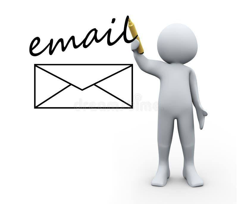 o email do desenho da pessoa 3d envolve ilustração do vetor