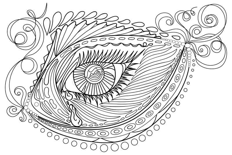 O emaranhado do zen estilizou peixes abstratos e o olho, isolados no fundo branco Entregue o esboço tirado para a página antistre ilustração royalty free