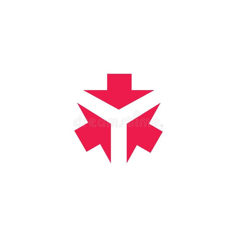 O emblema criativo da tecnologia da letra de formulário Y do logotipo de três setas, um sentido de 3 cursores convirge em um pont ilustração do vetor