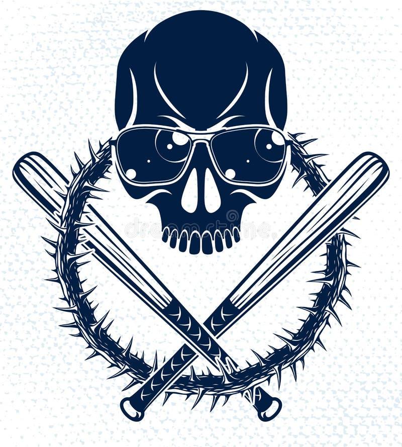 O emblema criminoso brutal ou o logotipo do grupo com os bastões de beisebol agressivos do crânio projetam elementos, estilo retr ilustração stock
