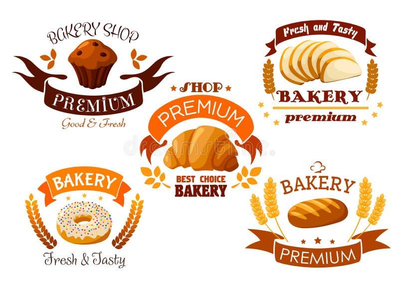 O emblema da loja da padaria com pão e doce endurece ilustração royalty free