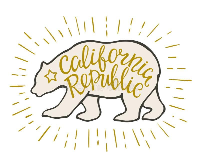 O emblema da república de Califórnia com rotulação do urso e da mão script ilustração stock