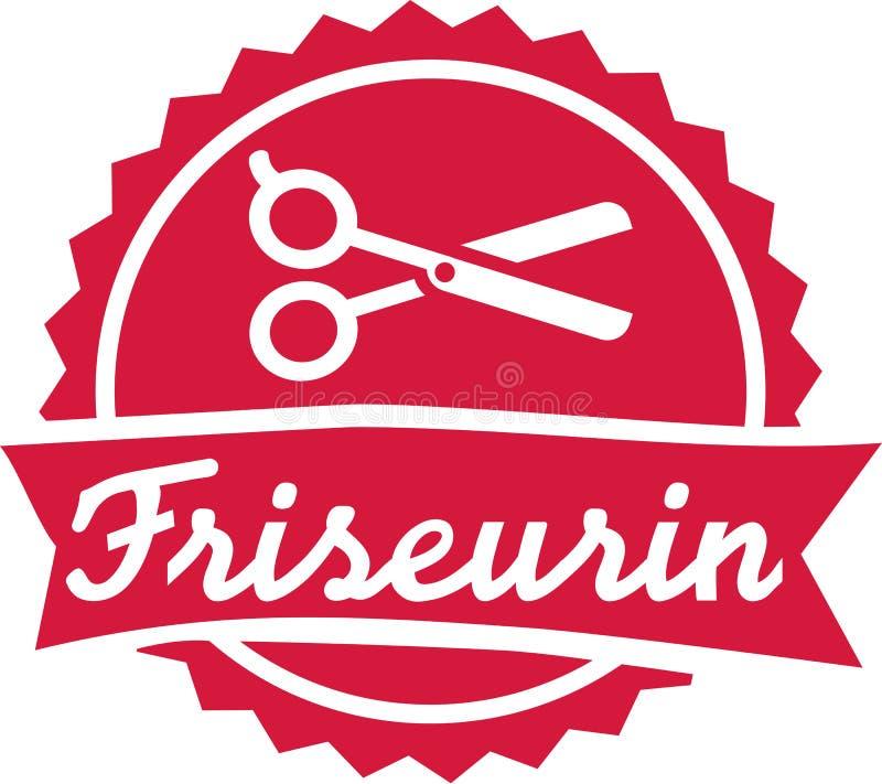 O emblema do cabeleireiro com scissor ilustração stock