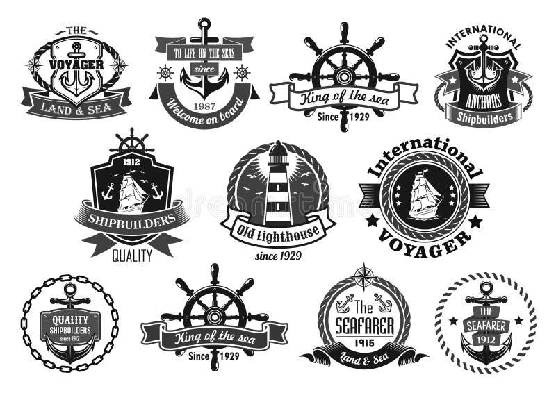 O emblema do mar ajustou-se com âncora, leme, navio de navigação ilustração do vetor
