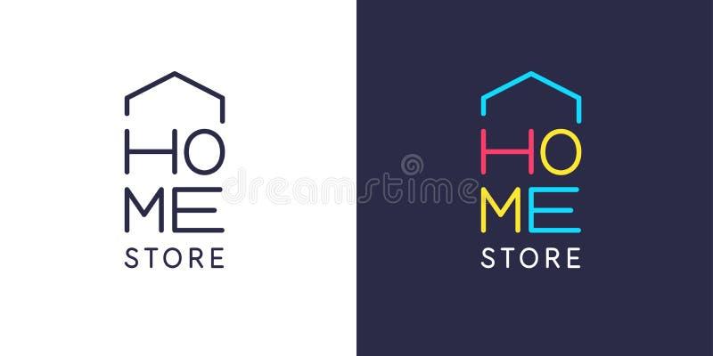 O emblema do reparo home Etiqueta na janela da loja para a venda das ferramentas e dos produtos ilustração stock