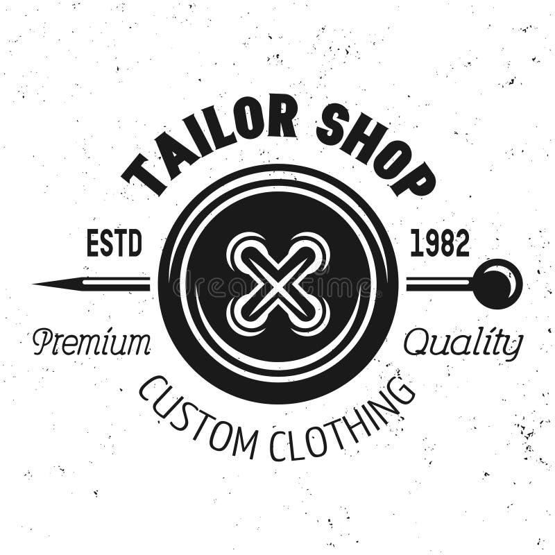 O emblema do vetor da loja do alfaiate com roupa abotoa-se ilustração stock