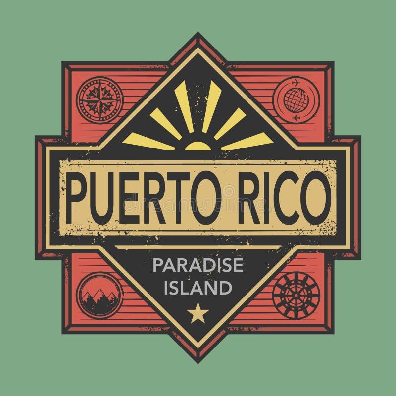 O emblema do vintage com texto Porto Rico, descobre o mundo ilustração royalty free