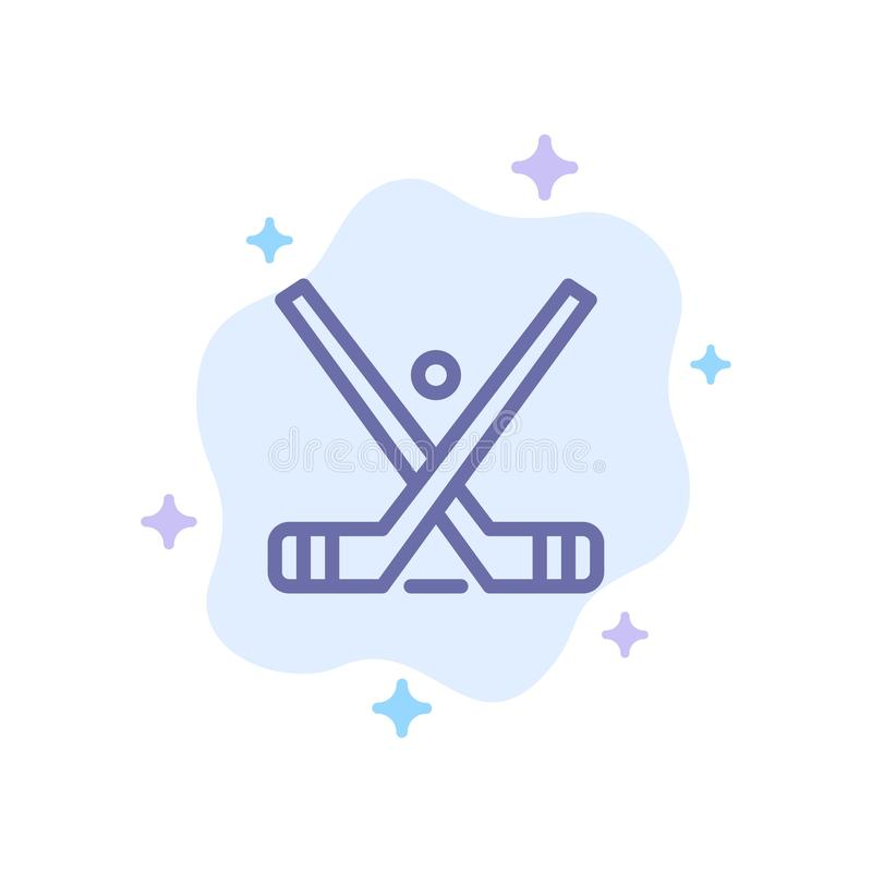 O emblema, hóquei, gelo, vara, cola o ícone azul no fundo abstrato da nuvem ilustração royalty free