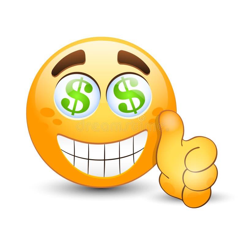 O Emoticon com o polegar ascendente e o dólar assinam dentro os olhos ilustração do vetor