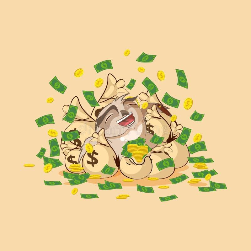 O emoticon da etiqueta da coruja comemora dólares dos lucros ilustração royalty free