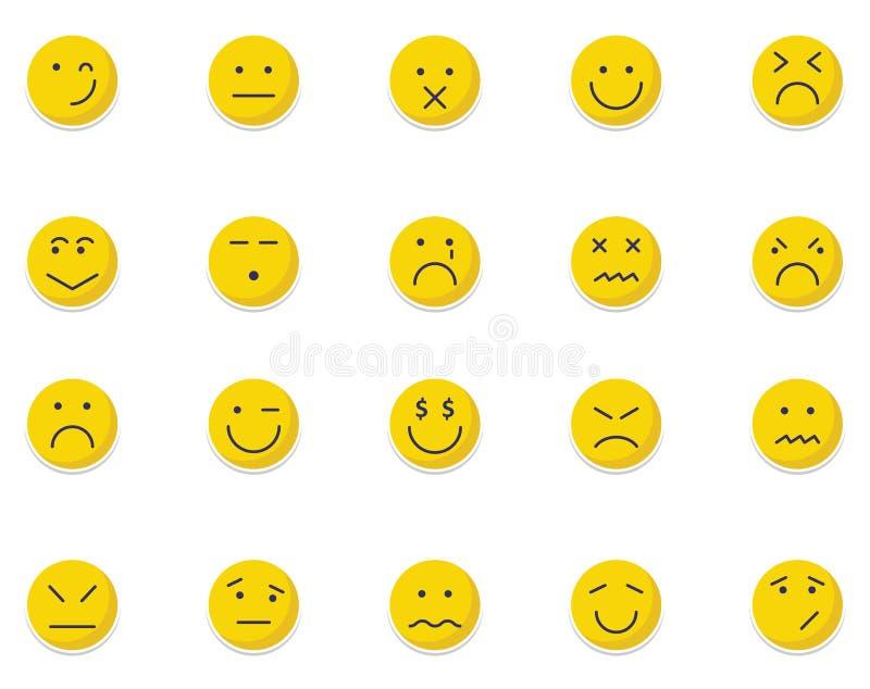 O Emoticon e Emoji isolaram os ícones do vetor embalam que podem facilmente ser alterados ou editado em toda a cor ilustração stock