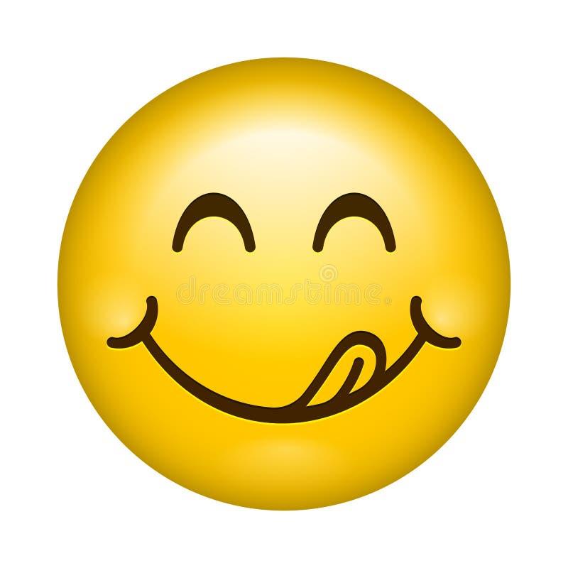 O emoticon saboroso dos desenhos animados do vetor do sorriso lambe os bordos com língua Ícone isolado do emoji comer cara saboro ilustração do vetor