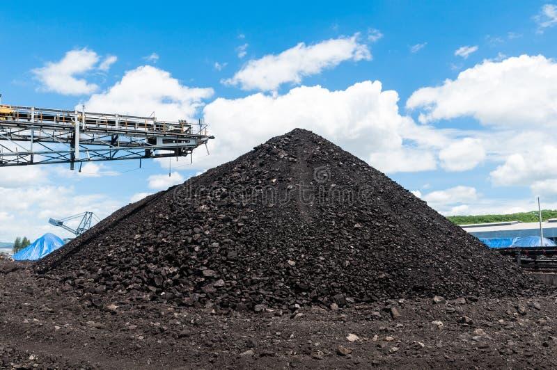 O empilhador de carvão e o Reclaimer de carvão são maquinaria de mineração, ou mineração imagens de stock