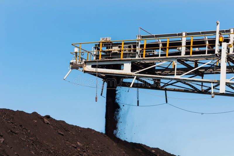 O empilhador de carvão e o Reclaimer de carvão são maquinaria de mineração, ou equipamento de mineração no setor mineiro como a p imagem de stock royalty free