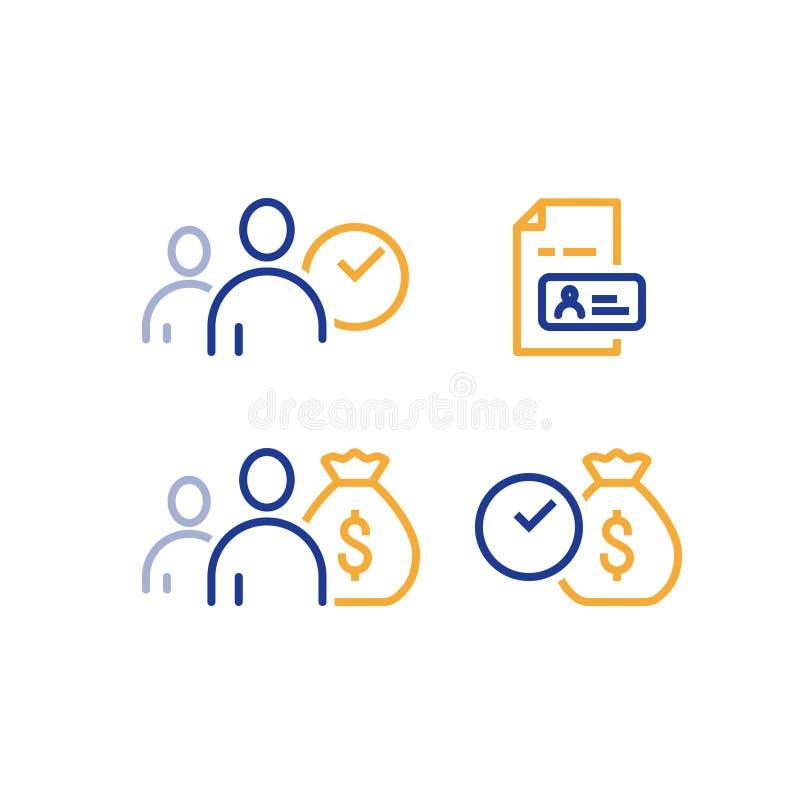 O empréstimo rápido, o dinheiro rápido, os serviços da finança, o pagamento oportuno, o cliente e o dinheiro ensacam, vector o íc ilustração do vetor
