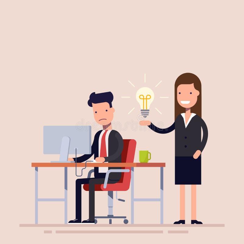 O empregado ajuda com a ideia de um colega que está no desespero Ajuda em uma situação difícil Trabalhos no escritório ilustração royalty free