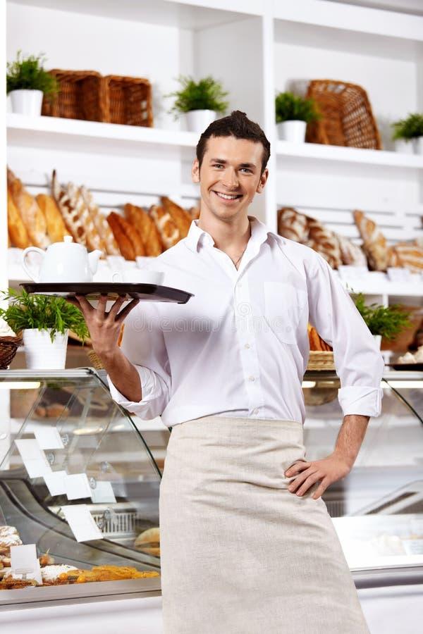 O empregado de mesa pafável imagens de stock