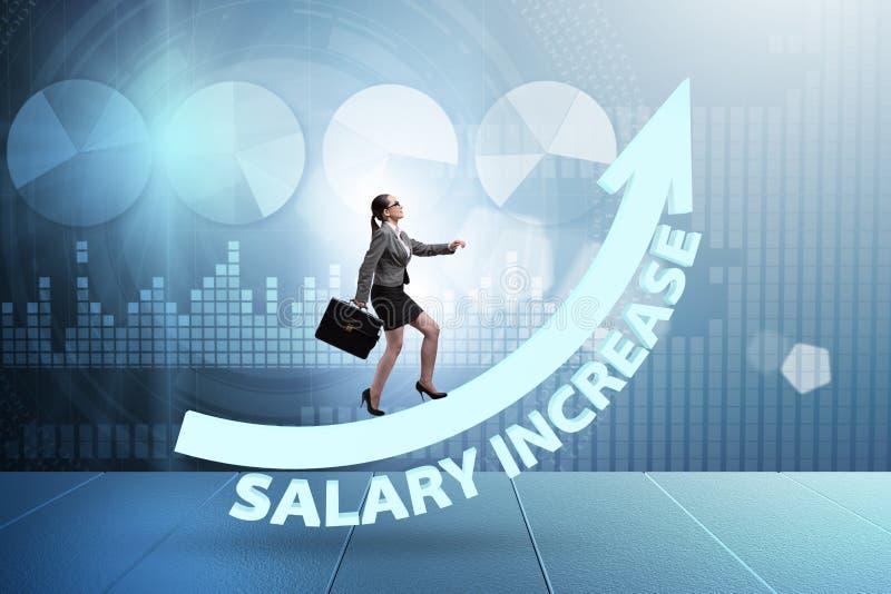 O empregado no conceito do aumento salarial ilustração stock
