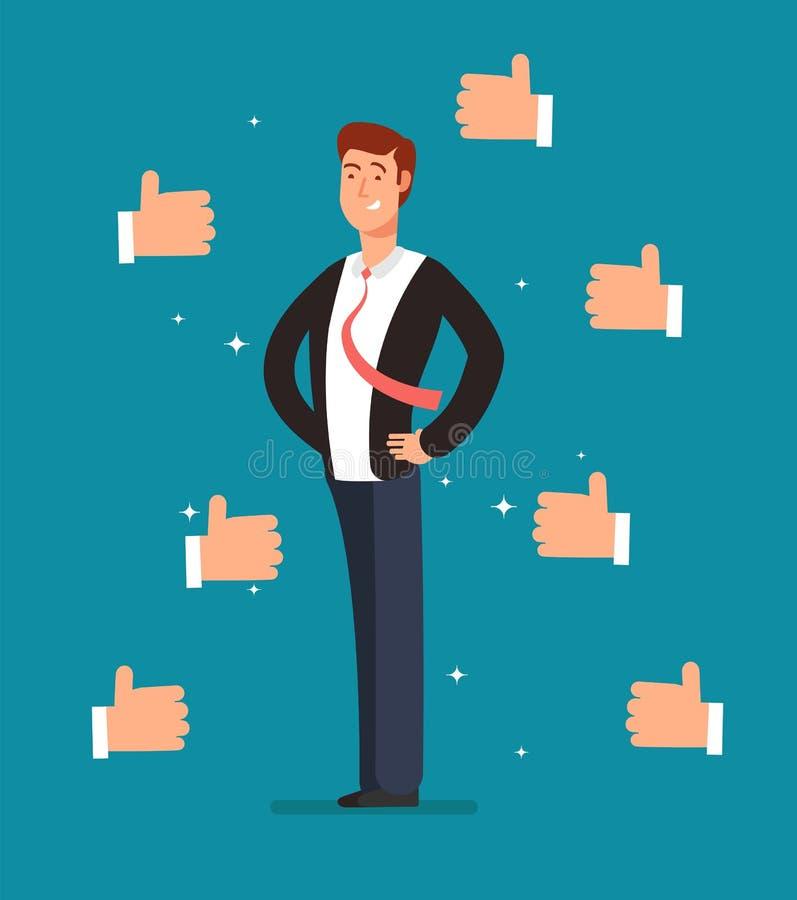 O empregado orgulhoso dos desenhos animados com muitos polegares levanta as mãos dos homens de negócios Conceito do vetor do reco ilustração royalty free