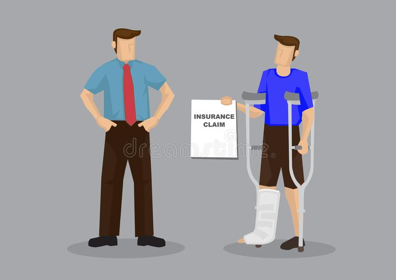O empregado reivindica o seguro médico da ilustração do vetor dos desenhos animados do empregador ilustração royalty free