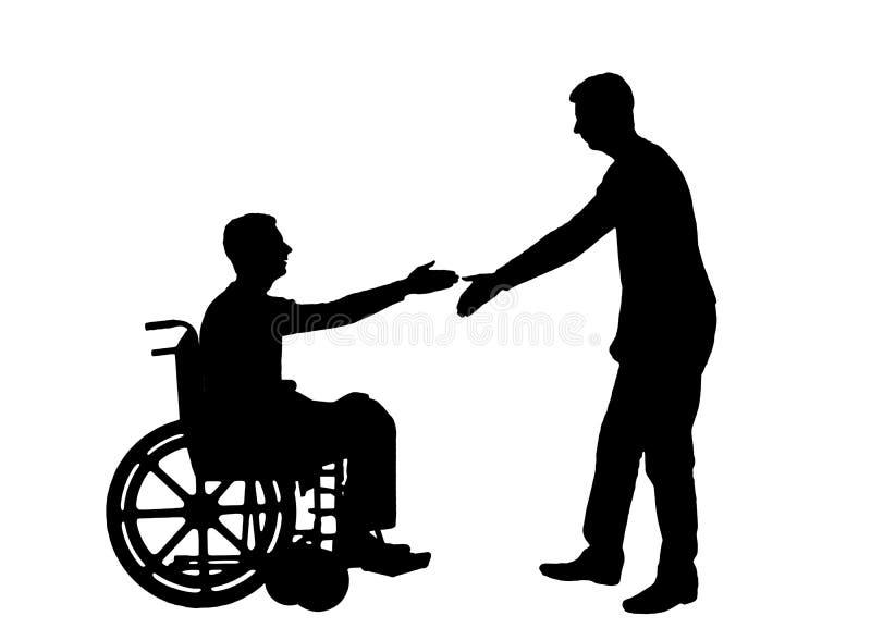 O empregador da silhueta do vetor pretende agitar as mãos com um homem em uma cadeira de rodas ilustração do vetor