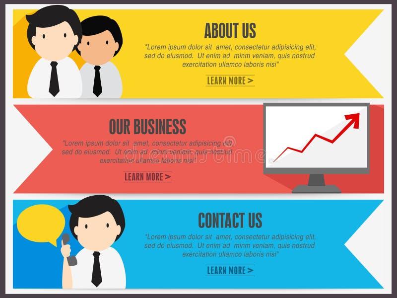 O encabeçamento ou a bandeira do Web site ajustaram-se para a finalidade de negócio ilustração stock