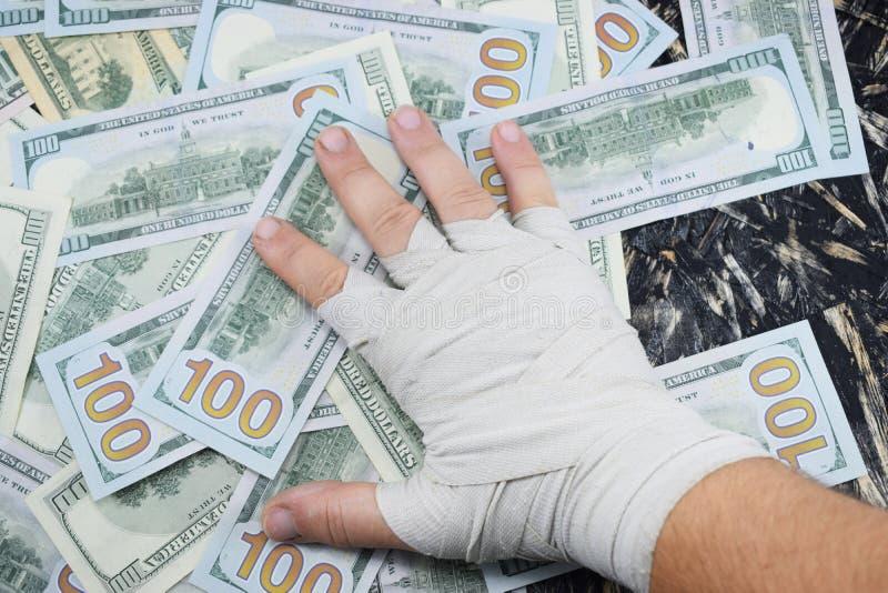 O encaixotamento para o dinheiro, esporte para o dinheiro, dólares para encaixotar luta imagens de stock royalty free