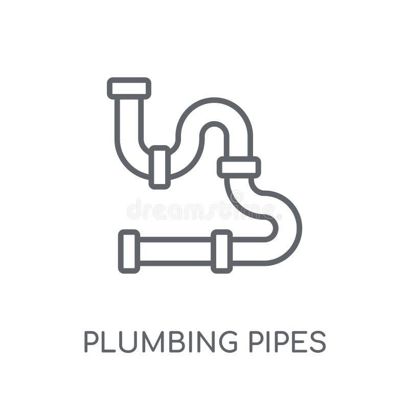 o encanamento conduz o ícone linear Esboço moderno que sonda o logotipo c das tubulações ilustração do vetor