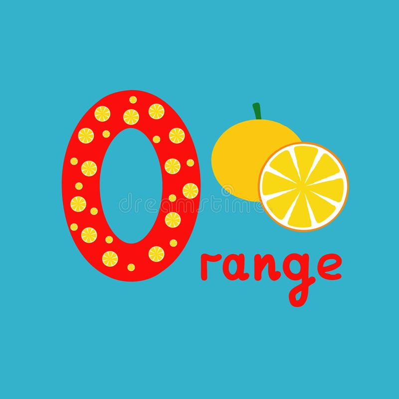 English alphabet for children education, letter O uppercase with word. Cute kids colorful ABC alphabet in cartoon style, flashcard. For learning English vector illustration