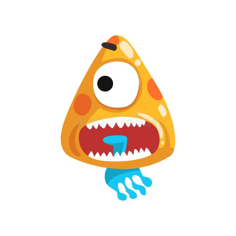 O engraçado eyed o monstro toothy, ilustração fabulosa do vetor do personagem de banda desenhada da criatura ilustração stock