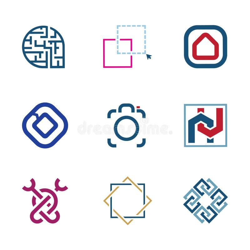 O enigma criativo edita o logotipo futuro da empresa de desenvolvimento da tecnologia do software da TI ilustração do vetor
