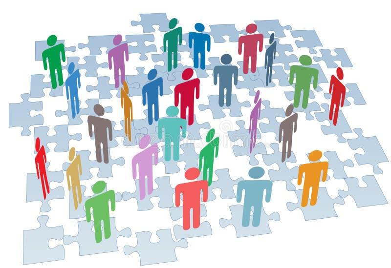 O enigma da conexão dos recursos humanos remenda a rede ilustração stock