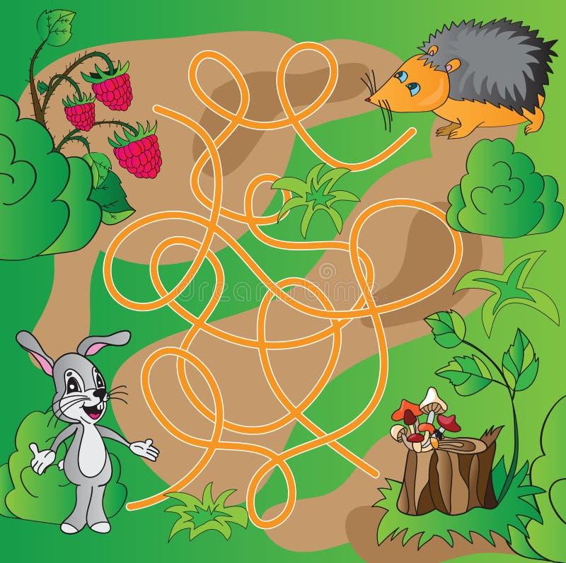 O enigma das crianças - labirinto ilustração royalty free