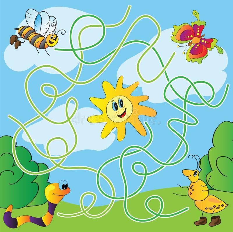 O enigma das crianças - labirinto ilustração stock