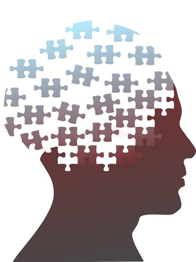 O enigma de serra de vaivém remenda como a cabeça da mente de um homem ilustração royalty free